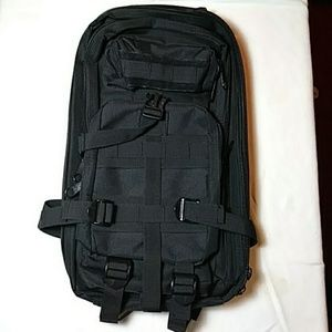 Black rugged compartment backpack